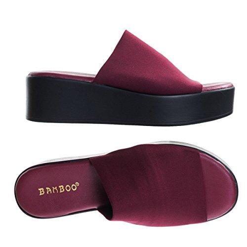 Sandalo Flatform Open Toe Con Chiusura A Strappo E Doppio Cinturino 02 Bordeaux