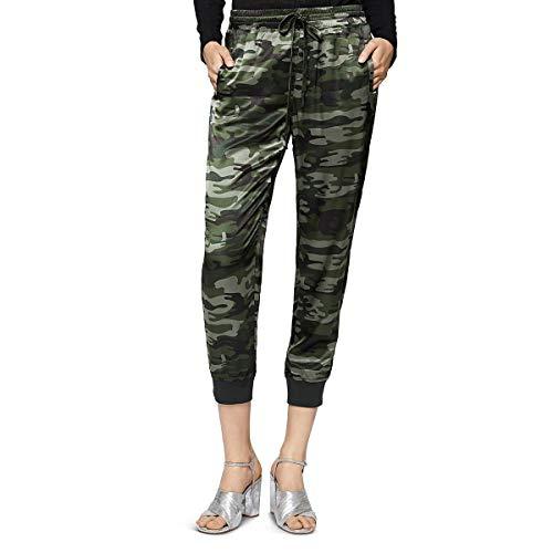 Sanctuary Cropped - Sanctuary Womens Dreamer Satin Camouflage Jogger Pants Green XL