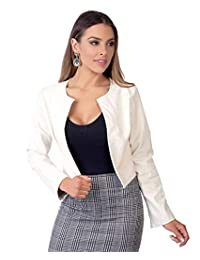 KRISP Womens Ladies PU Leather Cropped Jacket Open Blazer