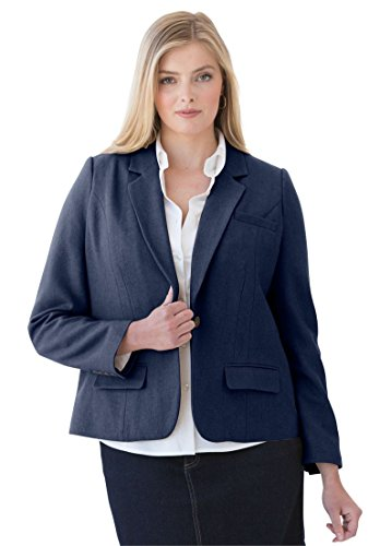 Jessica London Women's Plus Size Fitted Wool Blazer – 12, Navy