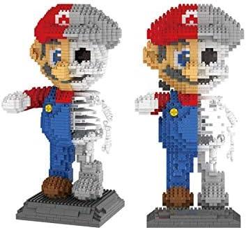 Zenghh 1686pcs Building Blocks particelle Puzzle bambola educativo modello assemblato a mano Decorazione Camera Blu Super Mario Rosso di scheletro del cranio Stacking Imparare Intelligenza Attività gi