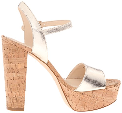 Bomba de la plataforma del cuero Nine West Clavel Light Gold Metallic