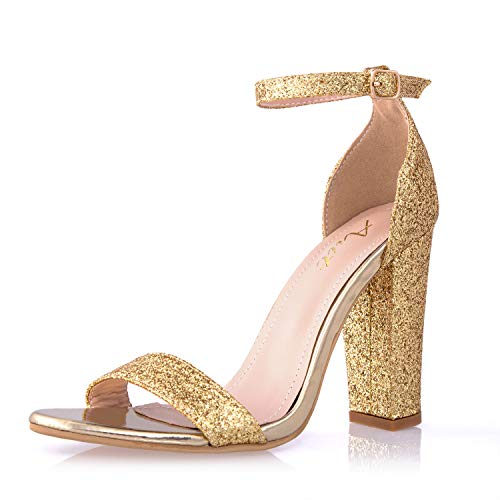 AIIT Women's Chunky High Heel Sandals Gold Glitter Pumps 1920s Gatsby Sparkling Block Stiletto Heels Fashion Dress Party Shoes for Women]()