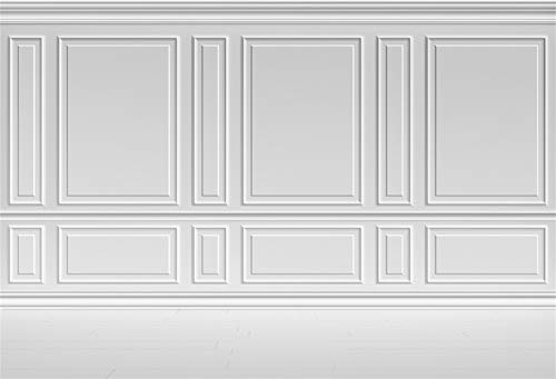 Laeacco Empty Room Architectural White Wall Background 10x8ft Vinyl Photography Background Classic Style White Wall Houses Flats Interior Vintage White 3D Blank Decor Elegant Backdrop