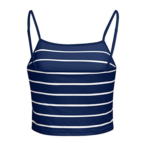 NUWFOR Women Sleeveless Casual Stripe Camis Vest Tank Top (Navy,US L Bust:34.6-36.2'') by NUWFOR (Image #5)