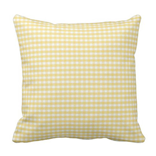 Emvency Throw Pillow Cover Accent Yellow Gingham Spring White Livingroom Decorative Pillow Case Home Decor Square 18 x 18 Inch Pillowcase ()