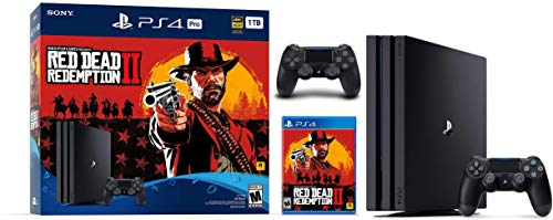 Newest Sony Playstation 4 Pro 1TB SSD Console – Red Dead Redemption 2 Game Bundle with DualShock-4 Wireless Controller, AMD 8 Cores Processor, USB 3.1, HDMI