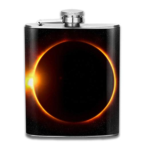 Laki-co Solar Eclipse Hip Flask for Liquor Stainless Steel Bottle Alcohol 7oz -