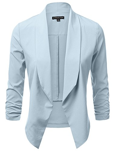 JJ Perfection Women's Lightweight Chiffon Ruched Sleeve Open-Front - Light Blue Jacket