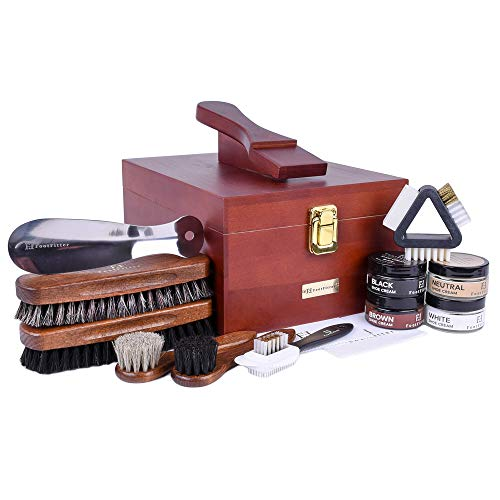- Footfitter Exclusive Shoe Shine Valet Deluxe Set - Shoe Clean Polish Kit!