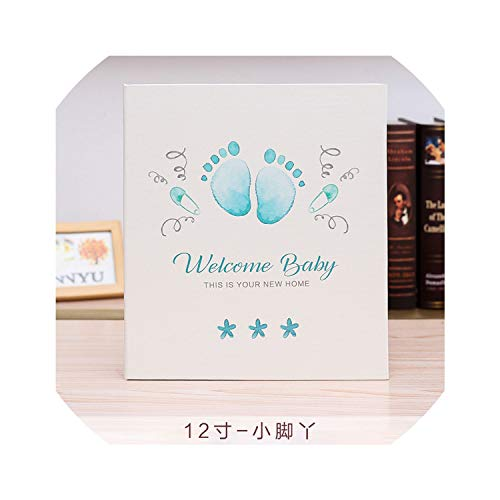 (Photo Albums Leather Cover Baby Infant Children Growth Record DIY Photo Album 12 Inch 18 Inch This Newborn Paste Type Family Photo Album,12)