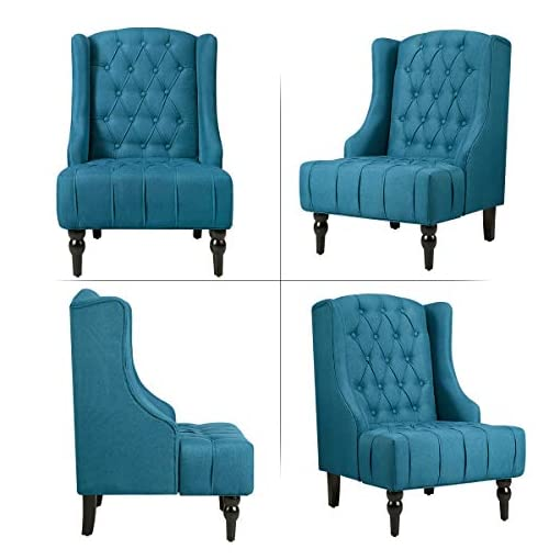 Living Room Esright High Back Accent Chair, Wingback Tufted Fabric Armless Chair, Mid Century Modern Club Chair with Wooden Legs for… modern accent chairs
