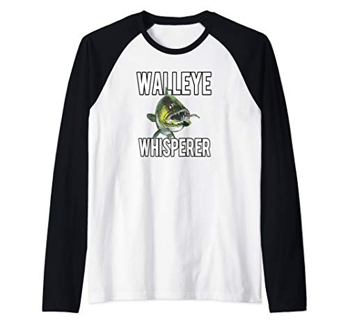 Walleye Whisperer Fishing Jigs Lures Tackle New Pro Walleye Raglan Baseball Tee