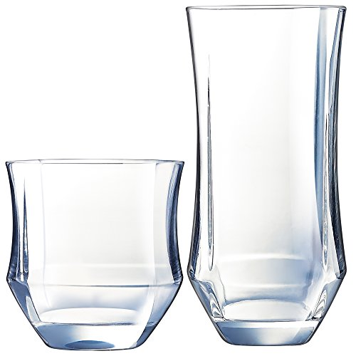 (Luminarc N7360 Baroque 16 Piece Tumbler Set, 8-16.5 Ounce Coolers & 8-11.5 Ounce On The Rocks Glass, Clear)