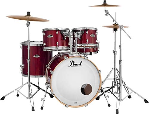 Pearl Export Lacquer EXL725S/C246 5-Piece New Fusion Drum Set with Hardware, Natural Cherry