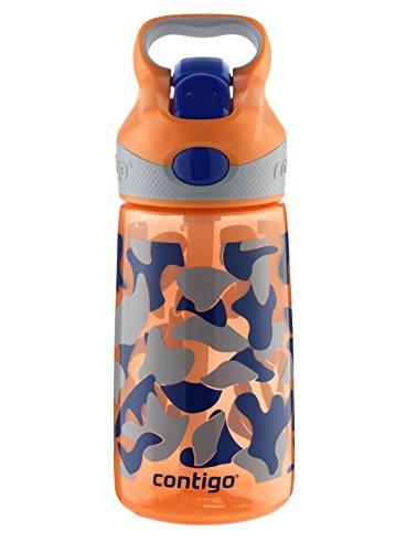 Contigo AUTOSPOUT Straw Striker Kids Water Bottle, 14 oz, Nectarine