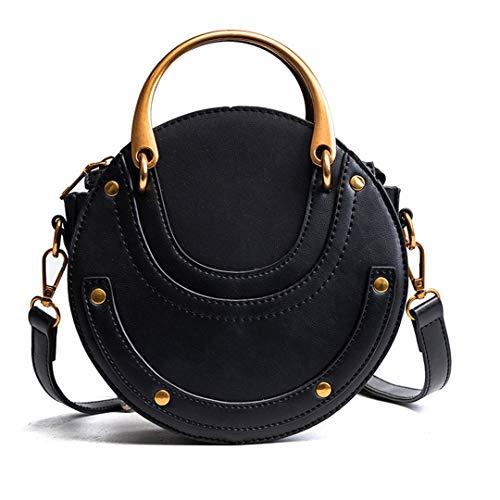 KJHGYBH PU Leather H Bag Mini Shoulder Crossbody Bag Small Round Package Women's Tote Bag Black