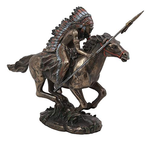 Ebros Tribal Native American Indian Chief Warrior with Trailer War Bonnet Eagle Headdress Charging On Horse with Spear Statue 11