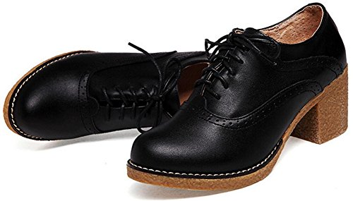 Zapatos Oxford Para Mujer, Satuki Zapatos De Plataforma Con Cordones Informal Zapatos De Tacón Negro