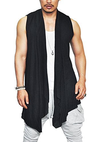 Coofandy Men's Ruffle Shawl Collar Sleeveless Long Cardigan Vest