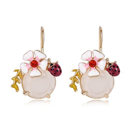 Ellena Rose White Flower Dangle Earrings, Ladybug Jewelry with White Crystals, Red and White Flower Earrings, For Birthdays, Valentine's Day, and Anniversaries