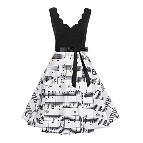 (Mlide Vintage Print Flare Dress,Sleeveless&Short Sleeve,Women Bow Belt Party Evening Dress,Plaid&flowersΜsic)
