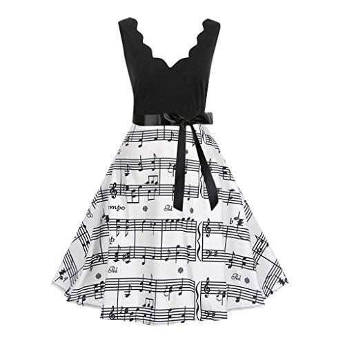 Mlide Vintage Print Flare Dress,Sleeveless&Short Sleeve,Women Bow Belt Party Evening Dress,Plaid&flowers&Music score(Black,XXX-Large)