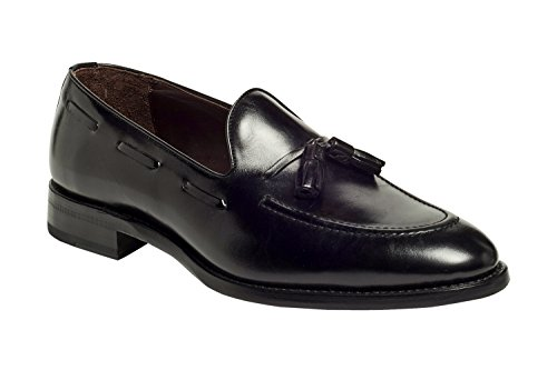 Anthony Veer Mens Dress Scarpa Philly Premium In Pelle Italiana Nappa Mocassino Goodyear Welted Nero