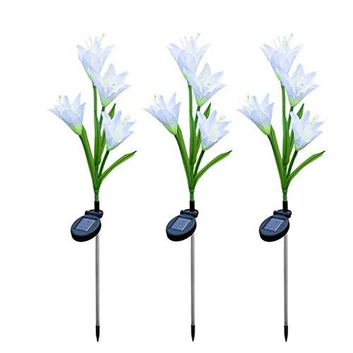 SAYEI 3PCS Solar Power Flower Light LED Outdoor Garden Yard Path Lawn Landscape Lamp 3 Pack Colorful Solar Lily Lights (Color Mix) Beautiful Artificial Flower Waterproof Anti-Dust Lanterns