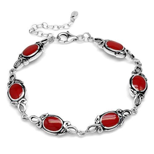 - 8x6MM Oval Created Red Coral 925 Sterling Silver Leaf Vintage Inspired 7-8.5 Inch Adj. Bracelet