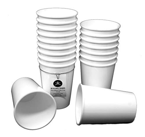 Rolling Sands 12oz Reusable Plastic Kids Cups White (Set of 18, Made in USA, BPA-Free) Dishwasher -