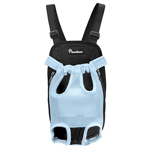 Pawaboo Pet Carrier Backpack, Adjustable Pet Front Cat Dog Carrier Backpack Travel Bag, Legs Out, Easy-Fit for Traveling Hiking Camping, Large Size, (Blue Dog Carriers)