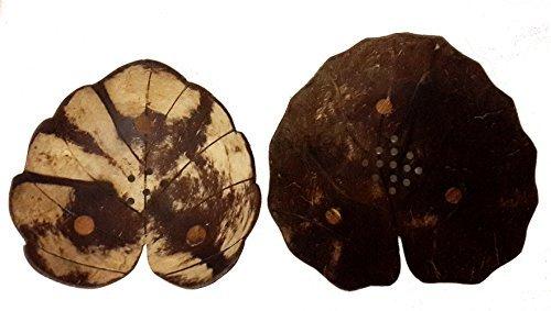 Exotic Elegance Gift Set of 2 Lotus and Heart Leaf Form Decorative Coconut Wood Dish.