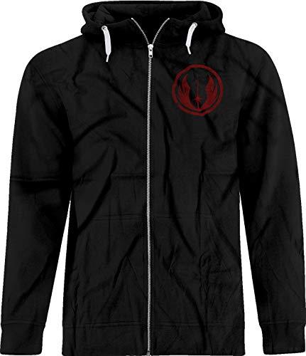 BSW Men's Star Wars Jedi Order Vintage Style Logo Premium Zip Hoodie 4XL Black]()