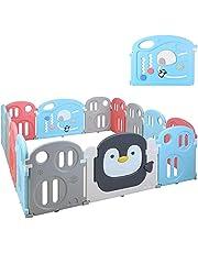 Grondbox babybox speelbox opvouwbaar beschermrooster van kunststof met deur speelbox voor kinderen van 0 tot 6 jaar (12 panelen + 2 deuren),200 x 180 x 64 cm