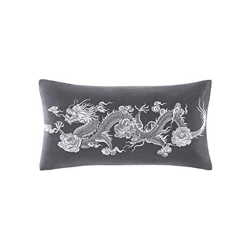 Sterling Dragon Sateen Cotton Accent Throw Pillow, Asian Ifluence Embroidered Fashion Oblong Decorative Pillow, 12