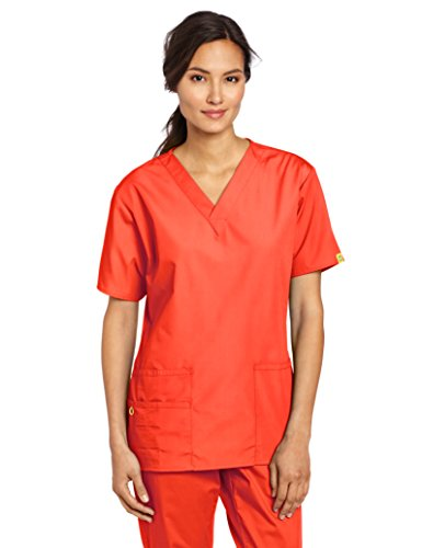 WonderWink Women's Scrubs Bravo 5 Pocket V-Neck Top, Orange Sherbet, Large