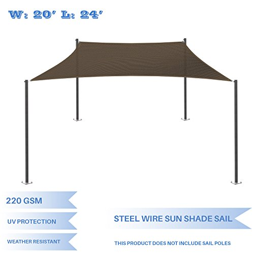 Wire Reinforced - E&K Sunrise 20' x 24' Strengthen Large Sun Shade Sail Reinforced by Steel Wire- Brown Rectangle Heavy Duty - (220 GSM)-Perfect Patio Outdoor Garden Backyard