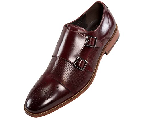 Shoes Burgundy Oxfords (Asher Green Mens Dress Shoes, Genuine Calf Leather Cap Toe, Double Monk Strap,Style AG1101)