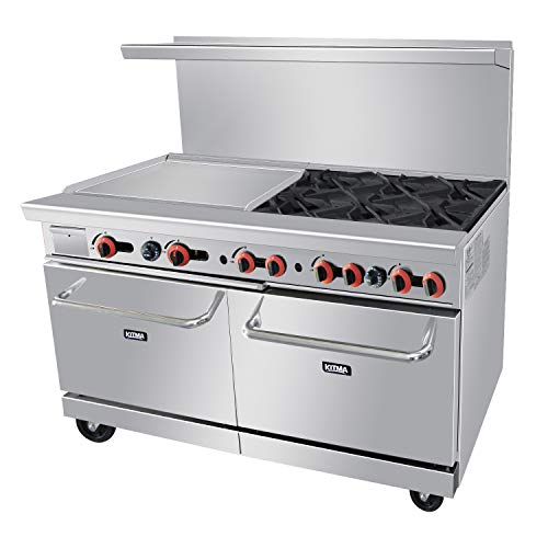 (Commercial 6 Burner 60'' Range With 24'' Griddle and Standard Oven - Kitma Heavy Duty Natural Gas Cooking Performance Group for Kitchen Restaurant, 252,000 BTU)