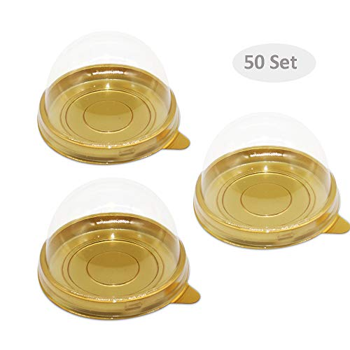(50 Set Clear Plastic Mini Cupcake Boxes Muffin Pod Dome Muffin Single Container Box Wedding Birthday Gifts Boxes Supplies (Gold))