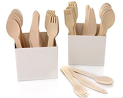 Top Wooden Disposable Cutlery Set | 250 pc | Including 2 Pop-Up Box Table Organizers for convenient display. Includes 100 spoons/100forks/50 knifes/2 organizers