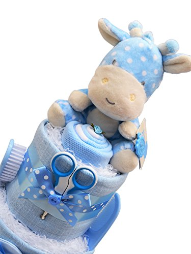 Cute Blue 3 Tier Spotty Giraffe New Baby Boy Nappy Cake Baby Shower Gift with FAST /& FREE UK Delivery!
