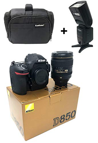 D850 DSLR Camera + AF-S NIKKOR 24-120mm f/4G ED VR Lens with KamKorda Professional Camera Bag + Speedlite Flash