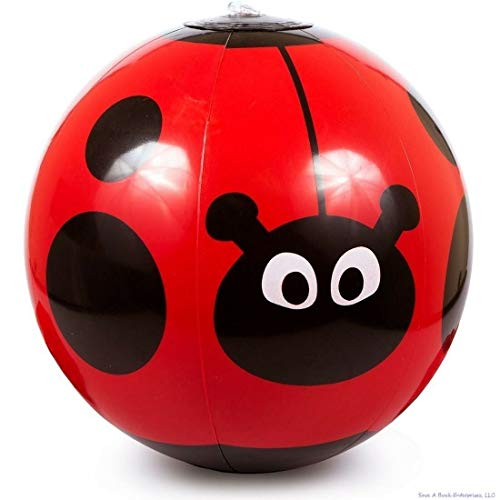 (12) Red Ladybug Inflatable Vinyl Blow Up Beach Balls ~ Pool Party Toy Favors ()