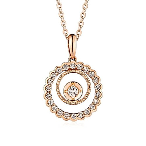 Adisaer 18k(750) Rose Gold Women Necklace 1.41g Double Round Pendant Round Diamond Wedding Necklace by Adisaer