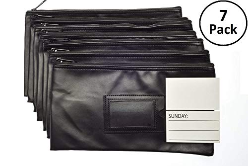 Blank Utility Pouch - 7 Days Bank Deposit Cash and Coin Pouches with Zipper Closure, Each Money Bag with Blank Card and Card for Each Day of The Week, Black