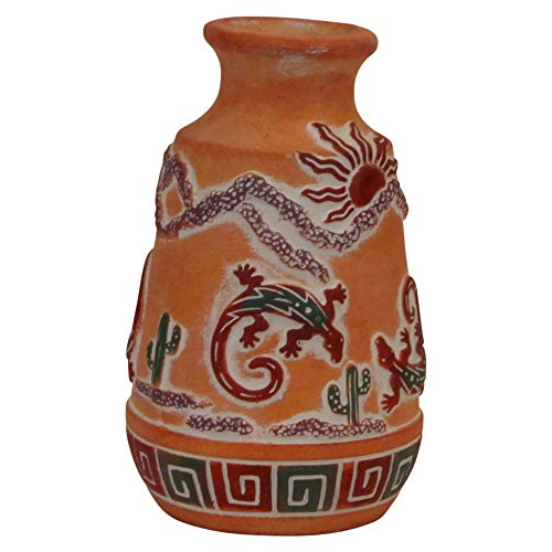 Trippies Southwest Gecko Vase Decorative Terra Cotta Resin Vase Featuring Lizard and Cactus - Reproduction Pottery Style vase