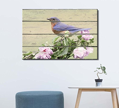 Blue Bird Sitting on a Flower Branch on Vintage Wood Textured Background Rustic Country Style