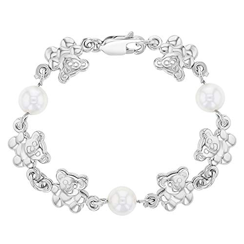 (925 Sterling Silver Teddy Bear Baby Girl Bracelet White Simulated Pearl 4.5